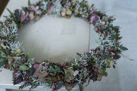 Höstkrans hortensia ljung silvergirlang