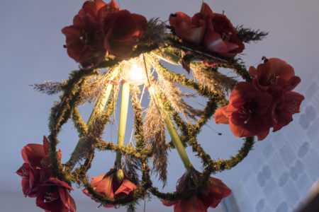 Julig lampskärm med amaryllis